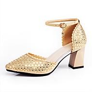 """billige Moderne sko-Dame Moderne Glimtende Glitter Saueskinn Joggesko Opptreden Tykk hæl Gull Svart Rød 2 """"- 2 3/4"""""""