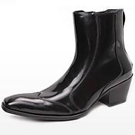 baratos Sapatos Femininos-Unisexo Sapatos Pele Napa Outono Inverno Coturnos Curta / Ankle Botas de Moto Botas da Moda Botas Cowboy / Country Botas Salto Robusto
