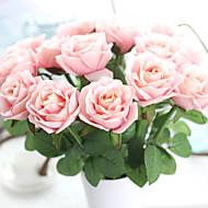 tanie -5 elementów 5 Gałąź Jedwab Poliester Roses Bukiety na stół Sztuczne Kwiaty