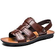 baratos Sapatos Masculinos-Homens Pele Primavera / Verão Conforto Sandálias Água Preto / Castanho Escuro