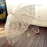 cheap Wedding Umbrellas-Transparency Pink and White Lace Wedding Umbrella Princess Parasols Photography Prop Decoration