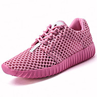 cheap Women's Sneakers-Women's Shoes Tulle Spring Fall Light Soles Comfort Ankle Strap Sneakers Flat Heel Round Toe Lace-up for Casual Outdoor White Black Pink