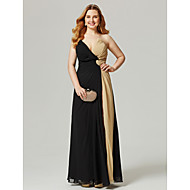 cheap -Plus Size Sheath / Column V Neck Floor Length Chiffon Color Block Cocktail Party / Prom / Formal Evening Dress with Split Front / Criss Cross / Ruched by TS Couture®