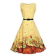 Women's Daily Holiday Work Vintage A Line Dress - Botanical Print Summer Cotton Yellow L XL XXL