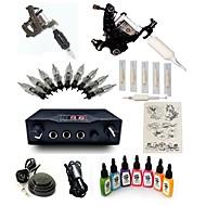 cheap Starter Tattoo Kits-Tattoo Machine Starter Kit 2 steel machine liner & shader LCD power supply 1 x aluminum grip 5 pcs Tattoo Needles