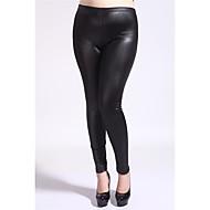 Feminino Simples Cintura Média Elasticidade Alta Justas/Skinny Calças Justas Calças,Lápis Skinny Sólido,Côr Pura