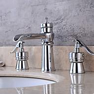 アールデコ調/レトロ風 組み合わせ式 真鍮バルブ 二つのハンドル4つの穴 for  クロム , バスルームのシンクの蛇口