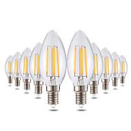 billige Stearinlyslamper med LED-YWXLIGHT® 10pcs 4 W 300-400 lm E14 LED-lysestakepærer C35 4 LED perler COB Mulighet for demping / Dekorativ Varm hvit 220-240 V / 10 stk.