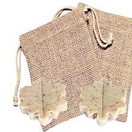 billige Praktiske gaver-mini leaf form såpe favor (2 stk i burlap bag) beter gaver ® håndlagde bryllups souvenirer