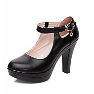 baratos -Feminino Saltos Sapatos formais Couro Primavera Outono Casual Salto Grosso Preto 12 cm ou mais