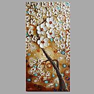 מצויר ביד פרחוני/בוטני מודרני / עכשווי פנל אחד בד ציור שמן צבוע-Hang For קישוט הבית
