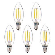 4W E14 Lâmpadas de Filamento de LED C35 4 leds COB 350lm Branco Quente Branco 2700-3200 6000-6500 AC 220-240