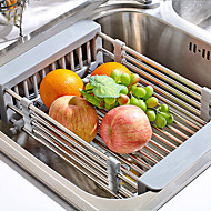 1pc Stainless Steel Retractable  Kitchen Sink Rinse Basket Shelf