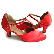 billige Moderne sko-Dame Moderne sko Fleece Sandaler Spenne Kubansk hæl Kan spesialtilpasses Dansesko Rød / Ytelse