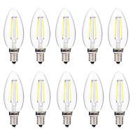 voordelige LED-gloeilampen-BRELONG® 10 stuks 2W 200lm E14 LED-gloeilampen C35 2 LED-kralen COB Dimbaar Warm wit Wit 220-240V