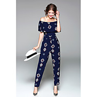 Women's Off Shoulder Ruffle Daily / Holiday / Going out Boat Neck Blue Jumpsuit, Graphic Print M L XL High Rise Short Sleeve Spring Summer / Slim