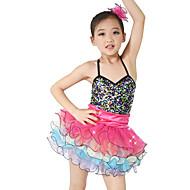 levne Taneční boty a oděvy-Dětské taneční kostýmy Šaty Výkon Spandex Elastický Samet Elastický satén Flitry Volány Bez rukávů Přírodní Šaty Doplňky do vlasů