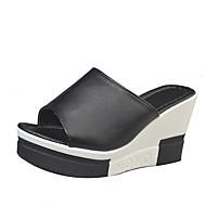 Feminino Sapatos Couro Ecológico Primavera Solados com Luzes Chinelos e flip-flops Salto de bloco Peep Toe Cristais Para Casual Branco