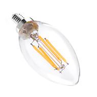 billige Stearinlyslamper med LED-YWXLIGHT® 1pc 4 W 300-400 lm E12 LED-lysestakepærer C35 4 LED perler COB Mulighet for demping / Dekorativ Varm hvit 110-130 V / 1 stk.