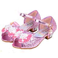 baratos Sapatos de Menina-Para Meninas Sapatos Courino Primavera Verão Conforto / Sapatos para Daminhas de Honra Rasos Lantejoulas para Prateado / Azul / Rosa claro / Peep Toe