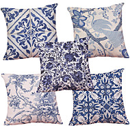 Set of 5  Chinese Style Blue and White Pattern  Decorative Chenille Square Throw Pillow Cases Sofa Cushion Covers (18*18inch)