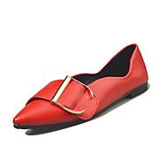 여성 플랫 컴포트 PU 봄 캐쥬얼 워킹화 아플리케 플랫 블랙 밝은 그레이 레드 밝은 브라운 5cm- 7cm