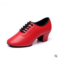 "billige Moderne sko-Dame Moderne PU Høye hæler Trening Lav hæl Svart Rød Under 1 "" Kan spesialtilpasses"