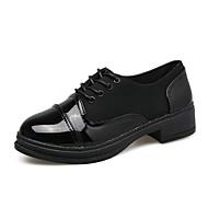 Dames Oxfords Comfortabel Zomer PU Causaal Veters Lage hak Wit Zwart Onder 2,5cm