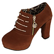 Žene Cipele Brušena koža Jesen Udobne cipele Cipele na petu Kockasta potpetica Okrugli Toe Patent-zatvarač Vezanje za Kauzalni Crn Braon