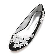 billige Bryllupssko-Dame Sko Sateng Vår / Sommer Komfort / Ballerina bryllup sko Flat hæl Rund Tå Appliqué / Satengblomst / Blomst Blå / Lysebrun / Krystall