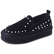 Mujer Zapatos Cachemira Otoño Confort Zapatillas de deporte Tacón Plano Dedo redondo Con Cordón Negro / Verde Ejército / Almendra CLGqUG1
