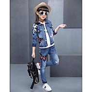 Djevojčice Pamuk Drugo Jednobojni Print Proljeće Jesen Dugih rukava Setovi Komplet odjeće