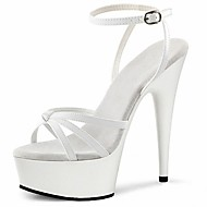halpa -Naiset Sandaalit muodollinen Kengät PU Kesä Puku Juhlat Soljilla Piikkikorko Valkoinen Musta 5in tai enemmän