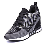 Women's Athletic Shoes Comfort Spring Fall Tulle Walking Shoes Casual Outdoor Lace-up Wedge Heel Purple Dark Grey Light Grey 5in & over
