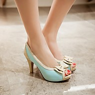 Damen Schuhe PU Sommer Komfort High Heels Blockabsatz Für Normal Party & Festivität Weiß Beige Blau Rosa
