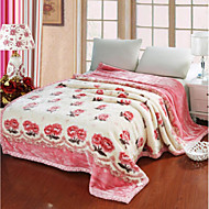 cheap Blankets & Throws-Plush, Printed Flower Cotton Blankets