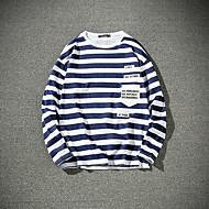 Langærmet Rund hals Herrer Stribet Forår Simpel Sport I-byen-tøj Afslappet/Hverdag Plusstørrelser T-shirt,Bomuld Andet