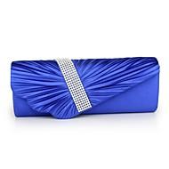 baratos Clutches & Bolsas de Noite-Mulheres Bolsas Poliéster Bolsa de Festa Pedrarias / Fru-Fru / Corrente Azul / Branco / Prata