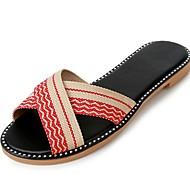 preiswerte -Damen Slippers & Flip-Flops Komfort Sommer Stoff Kleid Kombination Flacher Absatz Purpur Kaffee Rot 5 - 7 cm