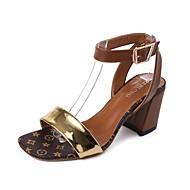 baratos Sapatos Femininos-Mulheres Sapatos Couro Ecológico Verão Conforto Sandálias Salto de bloco Dedo Aberto Presilha Preto / Castanho Escuro