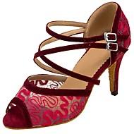baratos Sapatilhas de Dança-Mulheres Sapatos de Dança Latina Flocagem / Arrastão Sandália / Salto Presilha / Renda Salto Personalizado Personalizável Sapatos de Dança