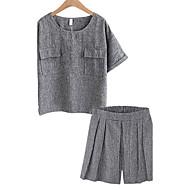 Žene Veći konfekcijski brojevi Pamuk Majica s rukavima - Jednobojni Visoki struk Hlače