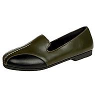 זול נעלים שטוחות לנשים-נשים שטוחות נוחות PU קיץ קזו'אל קפלים עקב שטוח שחור ירוק צבא שטוח