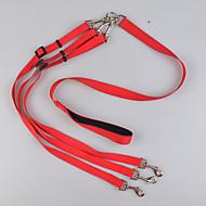 Trelas Guias Duplas para Cães Segurança Sólido Náilon Preto Vermelho Azul