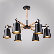 Недорогие -6 головок старинный деревянный арт-деко металлические люстры креативная гостиная столовая кабинет / кабинет