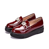 Women's Loafers & Slip-Ons Comfort Patent Leather Spring Fall Casual Metallic toe Platform Burgundy Black 1in-1 3/4in