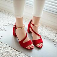 Naiset Kengät PU Kesä Comfort Sandaalit Käyttötarkoitus Kausaliteetti Musta Punainen Manteli