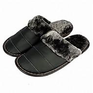 Masculino Chinelos e flip-flops Conforto Pele Outono Inverno Casual Combinação Rasteiro Preto Castanho Escuro Rasteiro