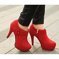 Női Cipő Valódi bőr PU Ősz Tél Kényelmes Magasított talpú Magassarkúak Kompatibilitás Hétköznapi Fekete Piros Burgundi vörös