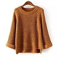 Damer Simpel Afslappet/Hverdag Normal Pullover Ensfarvet,Rund hals Langærmet Bomuld Efterår Vinter Medium Mikroelastisk